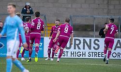 Arbroath's Bobby Linn (11) cele scoring their first half goal. half time : Forfar Athletic 0 v 1 Arbroath, Scottish Football League Division One played 8/12/2018 at Forfar Athletic's home ground, Station Park, Forfar.
