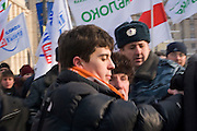 """Moscow, Russia, 18/02/2006..Roman Dobrokhotov, political activist and organiser of the anti-Putin youth movement """"We"""", invloved in a fight with supporters of Belarussian President Alexander Lukasheno during a demonstration against against Lukasheno outside the Russian Foreign Ministry."""