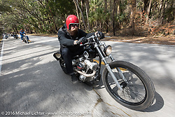 Jim Root from the Band Slipknot on a Blings Cycles bike riding through Tomoka State Park during Daytona Bike Week 75th Anniversary event. FL, USA. Thursday March 3, 2016.  Photography ©2016 Michael Lichter.