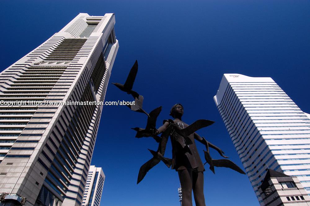 Modern art statue and skyscrapers at Minato Mirai in Yokohama in Japan