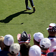 Ryder Cup 2016. Day One. Rory McIloy of Europe practices his swing before teeing off at the first hole in the Friday afternoon four-ball competition during the Ryder Cup at Hazeltine National Golf Club on September 30, 2016 in Chaska, Minnesota.  (Photo by Tim Clayton/Corbis via Getty Images)