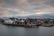 A view of Henningsvaer in the Lofoten Islands at 11pm during midsummer
