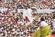 A male dancer leaps into the air during a couples performance at the Guelaguetza Auditorium on Cerro del Fortin in Oaxaca City, Oaxaca state, Mexico on July 21, 2008. The Guelaguetza is an annual folk dance festival - dancers from all corners of the state gather in celebration in Oaxaca City and towns in the Central Valley to perform their traditional dances.