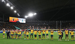 Australia acknowledge the crowd after their victory over Fiji in the 2019 Rugby World Cup Pool D match at Sapporo Dome.