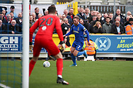 AFC Wimbledon midfielder Scott Wagstaff (7) dribbling down wing and about to cross into the box during the EFL Sky Bet League 1 match between AFC Wimbledon and Bolton Wanderers at the Cherry Red Records Stadium, Kingston, England on 7 March 2020.