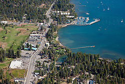 """""""Tahoe City Aerial 1"""" - Aerial photograph of Tahoe City  and Lake Tahoe, shot from an amphibious seaplane with the door removed."""