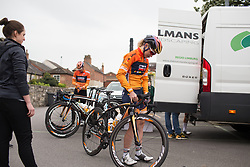Amy Pieters (NED) of Boels-Dolmans Cycling Team checks the stage profile before the Tour de Yorkshire - a 122.5 km road race, between Tadcaster and Harrogate on April 29, 2017, in Yorkshire, United Kingdom.