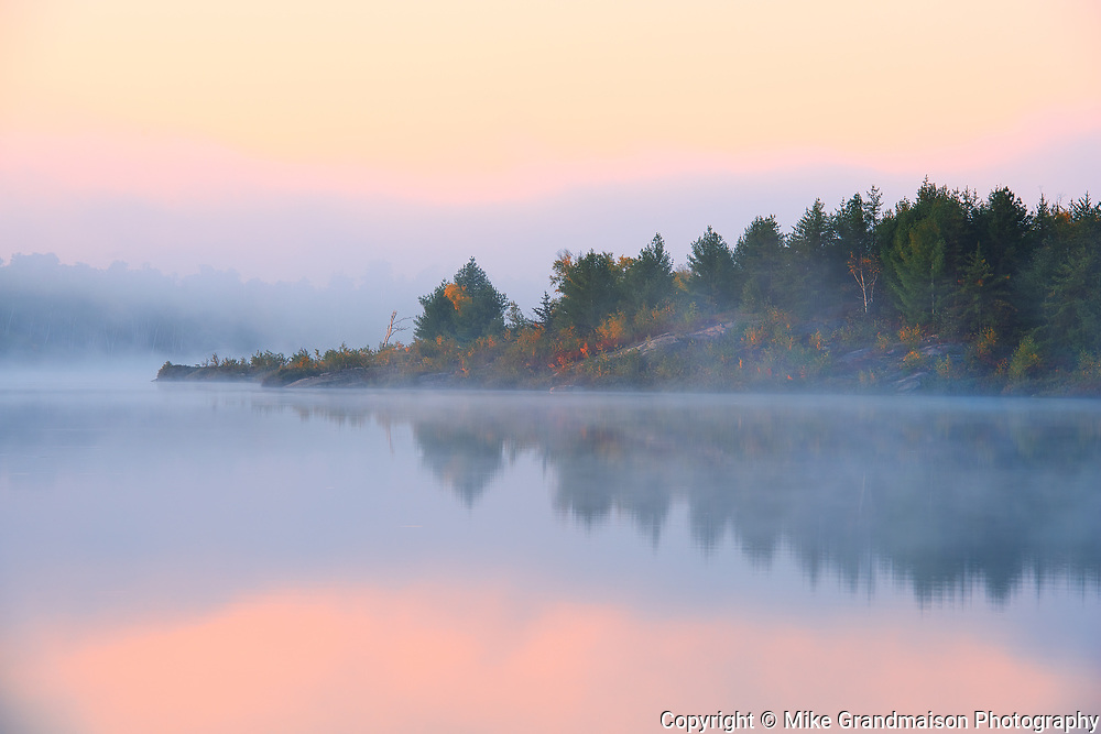 Morning fog at dawn on Lake Laurentian. Autumn. Lake Laurentian Conservation Area.<br />Sudbury<br />Ontario<br />Canada