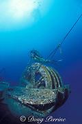 diver explores Cayman Salvager wreck, sunk as an artificial reef off Key West, Florida Keys ( Western Atlantic Ocean )<br /> MR 78