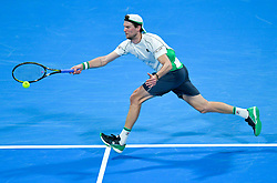 Andreas Seppi of Italy returns the ball to Andrey Rublev of Russia during their first round of ATP Qatar Open Tennis match at the Khalifa International Te?nnis Complex in Doha, capital of Qatar, on December 31, 2018. Andrey Rublev won 2-0  (Credit Image: © Yangyuanyong/Xinhua via ZUMA Wire)
