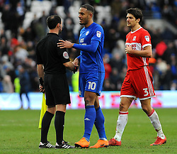 Kenneth Zohore of Cardiff City thanks officials at the end of the match- Mandatory by-line: Nizaam Jones/JMP - 17/02/2018 -  FOOTBALL - Cardiff City Stadium - Cardiff, Wales -  Cardiff City v Middlesbrough - Sky Bet Championship