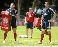 31 May 2013; Cian Healy, left, and Jamie Heaslip, British & Irish Lions, during the captain's run ahead of their game against Barbarian FC on Saturday. British & Irish Lions Tour 2013, Squad Captain's Run, Aberdeen Sports Ground, Aberdeen, Hong Kong, China. Picture credit: Stephen McCarthy / SPORTSFILE