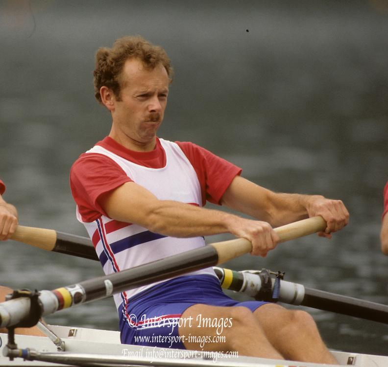 Bled, Slovenia, YUGOSLAVIA. GBR LM4-. Nick HOWE, 1989 World Rowing Championships, Lake Bled. [Mandatory Credit. Peter Spurrier/Intersport Images]