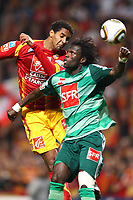 FOOTBALL - FRENCH CUP 2009/2010 - 1/4 FINAL - RC LENS v AS SAINT ETIENNE - 24/03/2010 - PHOTO ERIC BRETAGNON / DPPI - ISSAM JEMAA (LENS) /PAPE DIAKHATE (ASSE)