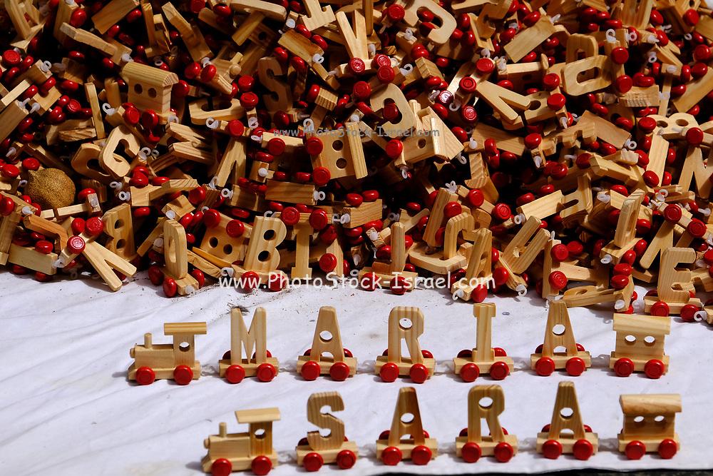 Handmade Wooden Alphabet letters on wheels