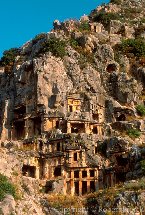 TURKEY, HELLENISTIC CULTURES MYRA; Lycian rockcut tombs from 6-7c. BC