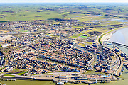 Nederland, Friesland, Harlingen, 28-02-2016; overzicht Harlingen met haven en achterland.<br /> Overview Harlingen harbor and hinterland.<br /> <br /> luchtfoto (toeslag op standard tarieven);<br /> aerial photo (additional fee required);<br /> copyright foto/photo Siebe Swart