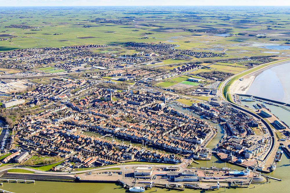 Nederland, Friesland, Harlingen, 28-02-2016; overzicht Harlingen met haven en achterland.<br /> Overview Harlingen harbor and hinterland.<br /> <br /> luchtfoto (toeslag op standard tarieven);<br /> aerial photo (additional fee required);<br /> copyright foto/photo Siebe Swart