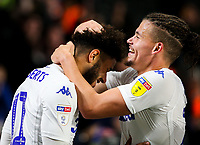 Leeds United's Tyler Roberts celebrates scoring his side's first goal with Kalvin Phillips<br /> <br /> Photographer Alex Dodd/CameraSport<br /> <br /> The EFL Sky Bet Championship - Hull City v Leeds United - Tuesday 2nd October 2018 - KC Stadium - Hull<br /> <br /> World Copyright © 2018 CameraSport. All rights reserved. 43 Linden Ave. Countesthorpe. Leicester. England. LE8 5PG - Tel: +44 (0) 116 277 4147 - admin@camerasport.com - www.camerasport.com