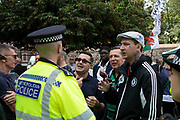 Leave protesters argue with police in Westminster on the day that Parliament reconvenes after summer recess to debate and vote on a bill to prevent the UK leaving the EU without a deal at the end of October, on 3rd September 2019 in London, England, United Kingdom. Today Prime Minister Boris Johnson will face a showdown after he threatened rebel Conservative MPs who vote against him with deselection, and vowed to aim for a snap general election if MPs succeed in a bid to take control of parliamentary proceedings to allow them to discuss legislation to block a no-deal Brexit.