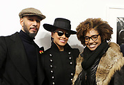 New York, NY-Jan. 11: (L-R) Music Producer/Recording Artist/Visual Artist Swizz Beatz, Recording Artist Alicia Keys and Photographer Latoya Ruby Frazier attends the Gordon Parks: I AM YOU Opening Reception presented by the Gordon Parks Foundation  held at the Jack Shanmain Gallery on January 11, 2018 in New York City.  (Photo by Terrence Jennings/terrencejennings.com)