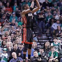 01 April 2012: Miami Heat power forward Chris Bosh (1) takes a jumpshot during the Boston Celtics 91-72 victory over the Miami Heat at the TD Banknorth Garden, Boston, Massachusetts, USA. NOTE TO USER: User expressly acknowledges and agrees that, by downloading and or using this photograph, User is consenting to the terms and conditions of the Getty Images License Agreement. Mandatory Credit: 2012 NBAE (Photo by Chris Elise/NBAE via Getty Images)