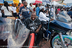 """Crowds line Dr. Mary McLeod Bethune Blvd during the annual """"Biking on the Boulevard"""" event during Daytona Beach Bike Week 2015. FL, USA. Saturday, March 14, 2015.  Photography ©2015 Michael Lichter."""
