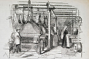 Power-operated jacquard loom for the production of  Stuff. Engraving.