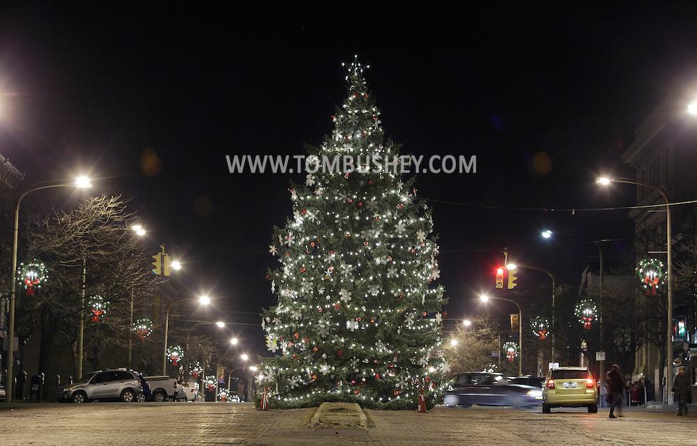 Newburgh, New York  - The city Christmas tree decorates Broadway on the night of Dec. 14, 2011.