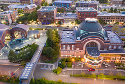 United States, Washington,Tacoma.  Union Station and Washington State History Museum (aerial view)