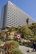 Israel, Tel Aviv. The hilton hotel on a cliff overlooking the promenade and the beach