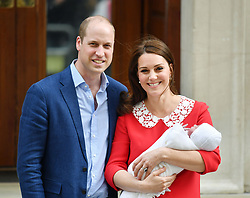 File photo dated 23/04/18 of the Duke and Duchess of Cambridge and their newborn son outside the Lindo Wing at St Mary's Hospital in Paddington, London. Prince Louis of Cambridge, who is celebrating his second birthday on Thursday, was born on patriotic St George???s Day in 2018.