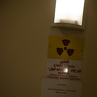 A sign warning of radiation at the Cancer Treatment Centre of the Augusta Victoria Hospital. The Augusta Victoria Hospital is located on the southern side of Mount of Olives in East Jerusalem and is run by the Lutheran World Federation, LWF.
