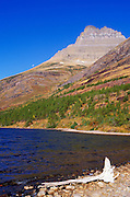 Morning light on Redrock Lake and Redrock Mountain, Many Glacier area, Glacier National Park, Montana USA