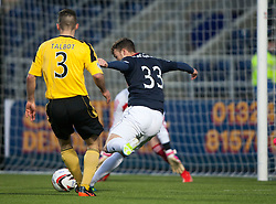 Falkirk's Rory Loy scoring their second goal.<br /> Falkirk 4 v 1 Livingston, Scottish Championship game played today at the Falkirk Stadium.<br /> ©Michael Schofield.