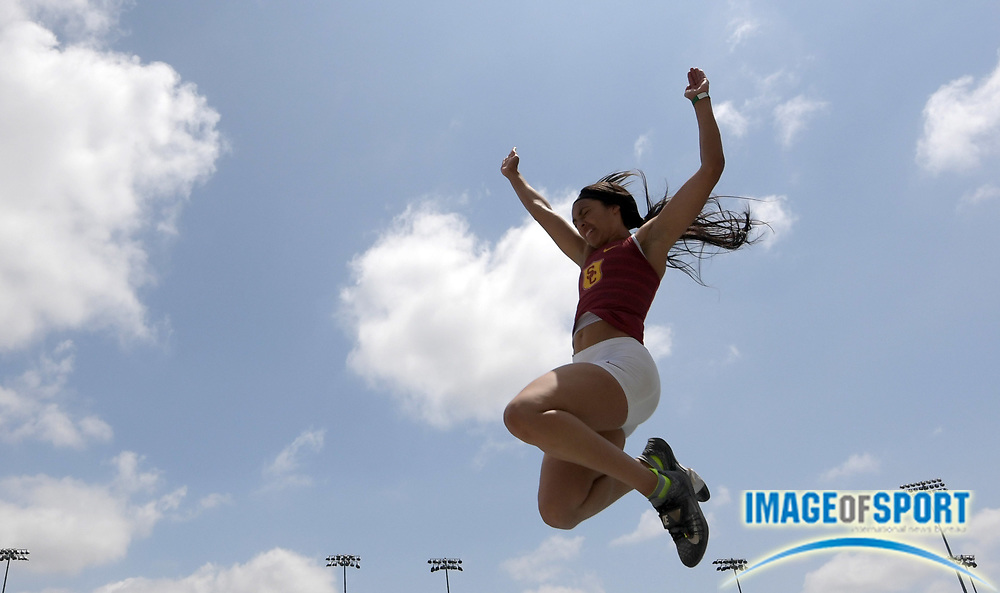 Alexa Harmon-Thomas of Southern California places fifth in the women's long jump at 18-10 (5.74m) during a collegiate dual meet against UCLA at Drake Stadium in Los Angeles, Sunday, April 29, 2018. Thomas is the daughter of former NFL linebacker Derrick Thomas.