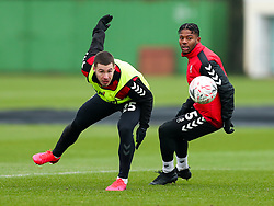 Tommy Rowe and Owura Edwards of Bristol City during a training session ahead of the FA Cup game with Portsmouth - Rogan/JMP - 07/01/2021 - Failand - Bristol, England.
