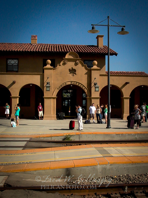 Santa Barbara SP Depot — The station was built in 1902 by the Southern Pacific Railroad in the Spanish Mission Revival Style. Design work was by Santa Barbara architect Francis W. Wilson