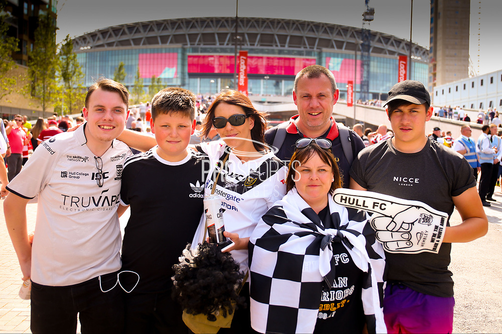 Hull fans during the Ladbrokes Challenge Cup Final 2017 match between Hull RFC and Wigan Warriors at Wembley Stadium, London, England on 26 August 2017. Photo by Simon Davies.