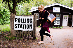 May 2, 2019 - Hampshire, England, United Kingdom - A woman leaves a polling station in the New Forest District Council town of New Milton in Hampshire. Local council elections are today taking place across large swathes of England and the whole of Northern Ireland. In England, six mayoralties are also being contested. (Credit Image: © David Cliff/NurPhoto via ZUMA Press)
