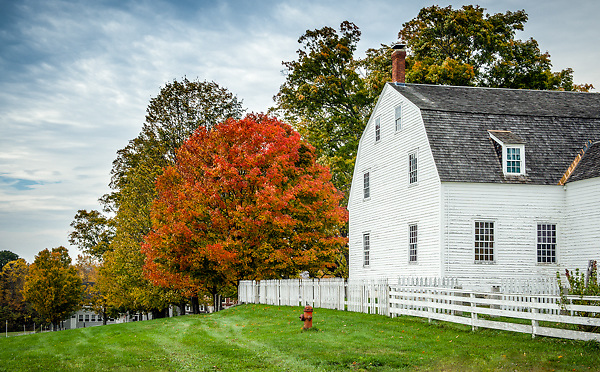 Vibrant foliage greets visitors to Canterbury Shaker Village, a National Historic Landmark located in Canterbury, NH.<br /> <br /> All Content is Copyright of Kathie Fife Photography. Downloading, copying and using images without permission is a violation of Copyright.