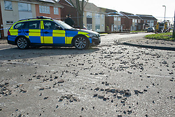 © Licensed to London News Pictures. 05/02/2014. Clacton, Essex, UK. Shortly before 8.30am today 5th February 2014 an explosion occurred at a property in Cloes Lane, Clacton. Emergency services are on scene with National Grid workers to make safe the scene and investigate the cause of the explosion. . Photo credit : Simon Ford/LNP