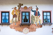 Detail of Gasthof Post Klais hotel in the village of Klais in Bavaria, Germany