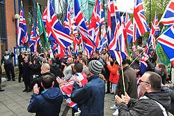 © Licensed to London News Pictures.04/11/2017.<br /> BROMLEY, UK.<br /> Britain First hold a Persecuted Patriots Rally outside Bromley Police Station, Bromley South.Party Leader Paul Golding and his deputy Jayda Fransen have to sign on bail every Saturday 2pm at Bromley Police station.<br /> Photo credit: Grant Falvey/LNP