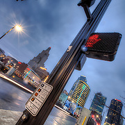 Intersection of Walnut and South Truman Rd in downtown Kansas City, Missouri.