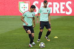 October 8, 2017 - Lisboa, Portugal - Portuguese forward Goncalo Guedes and Bruno Fernandes during National Team Training session before the match between Portugal and Switzerland at Luz Stadium in Lisbon on October 8, 2017. ....(Photo by Luis Moreira/NurPhoto) (Credit Image: © Filipe Amorim/NurPhoto via ZUMA Press)