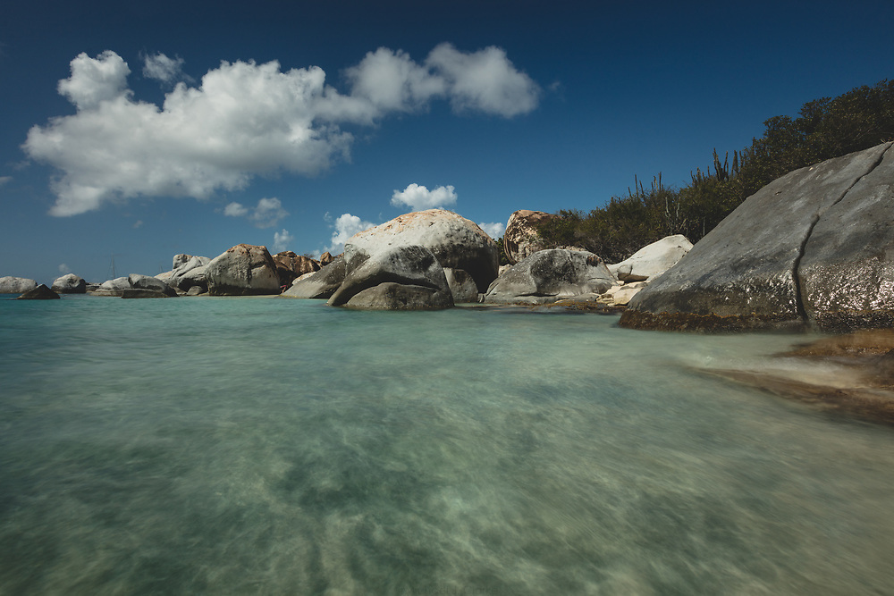 The shining and tropical landscape at the boulder lined beaches of The Baths on Virgin Gorda.