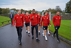 CARDIFF, WALES - Thursday, October 11, 2018: Wales' (L-R) James Chester, captain Ashley Williams, Joe Allen and Ashley 'Jazz' Richards during a pre-match walk at the Vale Resort ahead of the International Friendly match between Wales and Spain. (Pic by David Rawcliffe/Propaganda)