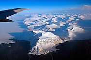 Aerial view over Svalbard.