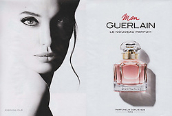 Celebrities advertising in ads in european countries. Angelina Jolie for Mon guerlain perfume Robbie Williams for Café Royal coffee Jennifer Lopez for L'Oreal shampoo Jennifer Aniston for Eyelove eye drops medicine Michelle Hunziker for Lovy bag Trussardi handbag Lily Rose Depp for Chanel 5 perfume L'eau Hailey Baldwin for Guess clothing Gerard Butler for Festina watch Chris Hemsworth for Tag Heuer watch Penelope Cruz for Carpisa handbag Eva Longoria for Salvini jewellery Hugh Jackmann for Mont Blanc watch Charlize Theron for Dior J adore perfume Kenya Kinski Will Peltz for Ermanno Scervino clothing Ellie Goulding for Deichmann shoes Robert De Niro McCaul Lombardi for Ermenegildo Zegna clothing Joe Jonas Guess clothing Ana Ivanovic for Rolex watch Levi Dylan Clara McGregor for Fay clothing Bella Hadid for Tag Heuer watch. Editorial use. 11 May 2017 Pictured: Angelina Jolie. Photo credit: ugpix / MEGA TheMegaAgency.com +1 888 505 6342
